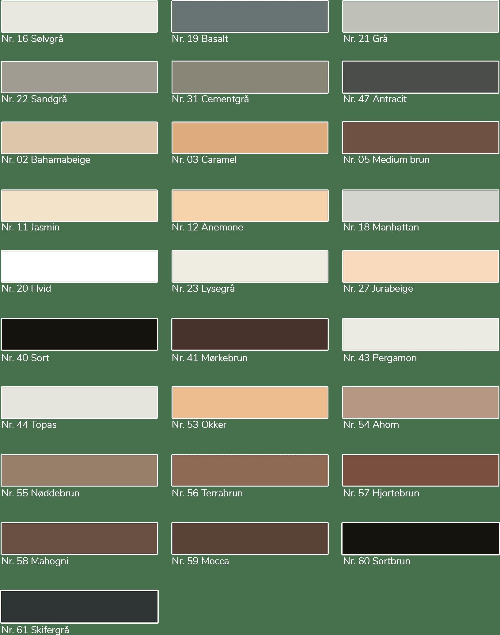 Forskellige farver af produktet nanofug
