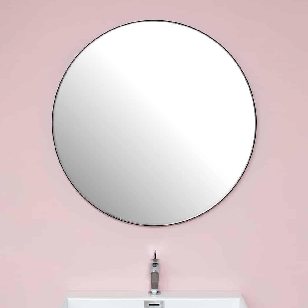 Rundt spejl med sort metalramme [Ø90]
