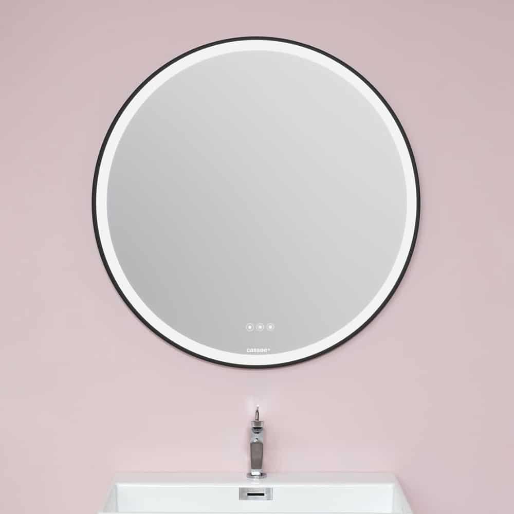 Rundt spejl med touchpanel [Ø80]