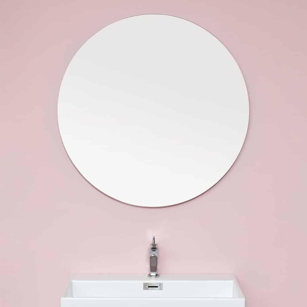 Rundt spejl uden ramme